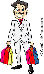 A smiling man with bags