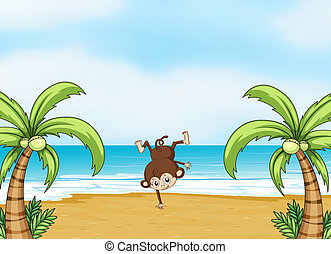 A monkey dancing on a beach - Illustration of a monkey...