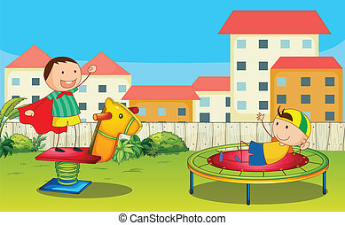Kids playing - Illustration of kids playing in a beautiful...
