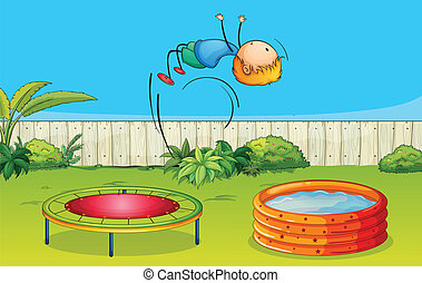 A boy playing trampoline - Illustration of a boy playing...