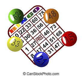 Bingo 6 - Three cards and five balls arranged on a white...