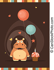 cute happy birthday card with fun hippo