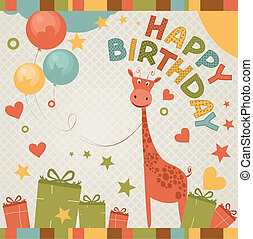 cute happy birthday card with giraffe. - birthday card with...
