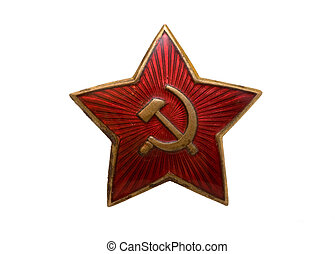 Red star - The Soviet badge with a sickle and a hammer