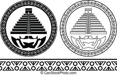 stencils of mayan pyramids