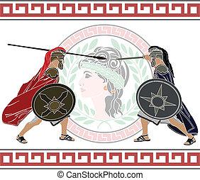 trojan war. stencil. second variant