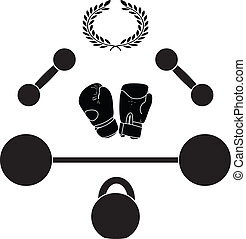 weights and boxer gloves.third variant