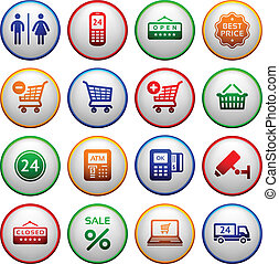 Set pictograms supermarket services, Shopping Icons Colorful...