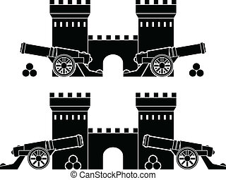 castle and guns with kernels stencils