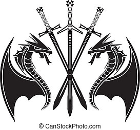 dragons and swords. stencil