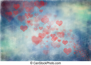 Abstract scratchy hearts background