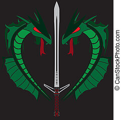green dragons and sword