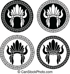 Native American Indian headdress stencils