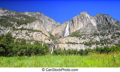 Yosemite falls with the meadow in the foreground