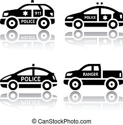 Set of transport icons - Police cars. Silhouettes of vector...
