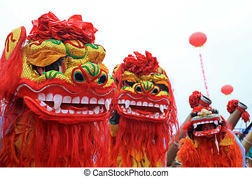 lion dance performance - closeup of lion dance performance...