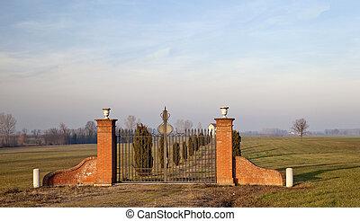 Gate - Outside gate of entrance to a far villa