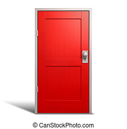 Red Door And Door Frame - A regular wooden door painted red...