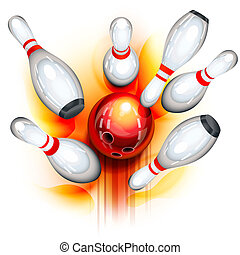 Bowling game top view - A red bowling ball crashing into the...
