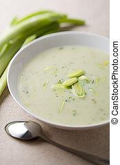Leek soup - Fresh hot leek soup close up shoot