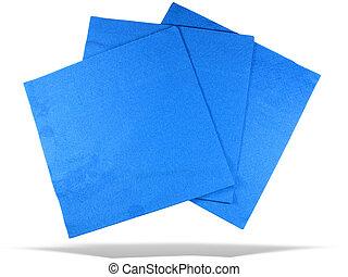três, azul, papel, guardanapos, sombra, isolado, sobre,...
