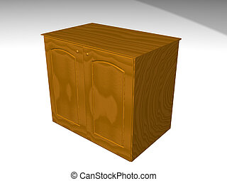 Rendered from 3d brown furniture detail Case