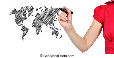 drawing world map - hand drawing world map on white...