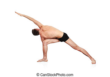 man doing yoga - handsome bare-chested man doing yoga