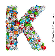 Letter k from gems - Letter K from scattered gems jewelry