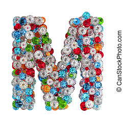 Letter M from gems - Letter M from scattered gems jewelry