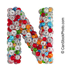 Letter N from gems - Letter N from scattered gems jewelry