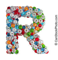 Letter R from gems - Letter R from scattered gems jewelry