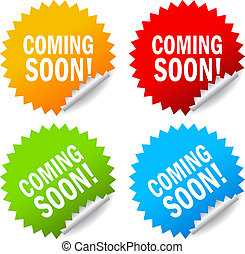 Vector coming soon labels set