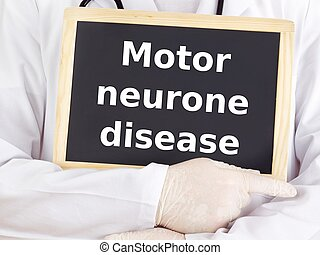 Doctor shows information: motor neurone disease