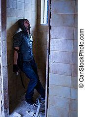 Drug Addict - Unconscious Drug Addict in Abandoned Building