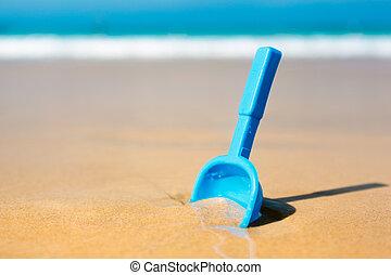 petit, sable, pelle, plage