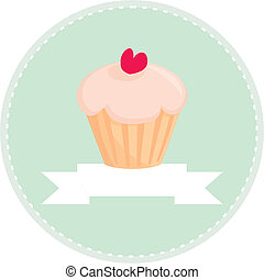 Retro vector cupcake sign - Sweet retro cupcake with heart...