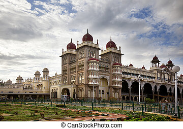 mysore palace - Mysore Palace facade with a little garden