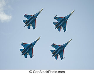 The four of the russian fighters in the flight