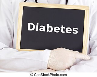 Doctor shows information on blackboard: diabetes