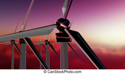 Wind Generators - Sunset - Animation about energy - Wind...