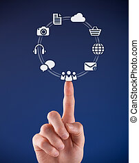 Social media concept - man click on virtual icon...