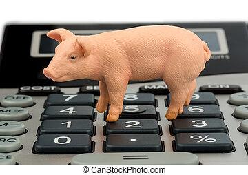 pork and calculator - a pig and a calculator as a symbol...