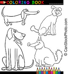 Cartoon Dogs or Puppies Coloring Page - Coloring Book or...