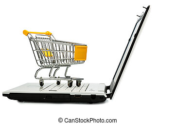 cart and laptop - cart standing on the keyboard of a laptop,...