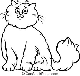 Persian cat cartoon coloring page - Black and White Cartoon...