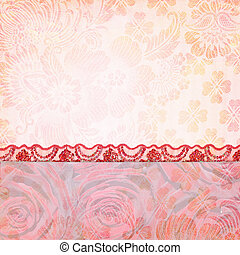 Border of roses and lace. Background for the photo book -...
