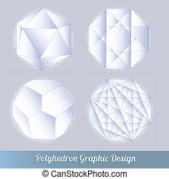 Set polyhedron lots vector 3d