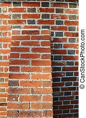 Brick Buttress - close up of a section of a red brick wall...