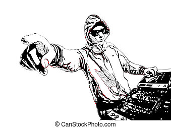 Dj in action - illustration of DJ